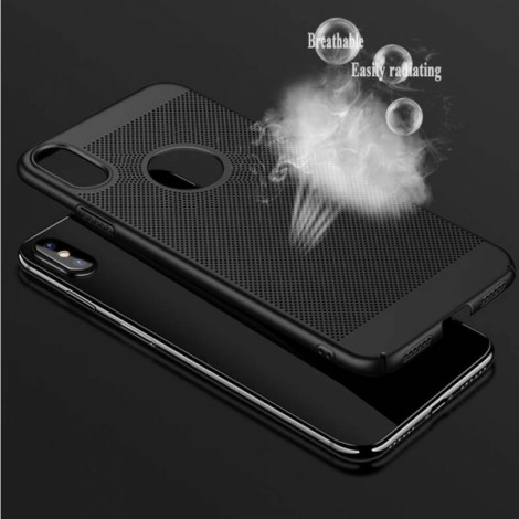 Mesh Heat Dissipation Anti Fingerprint Hard PC Case For iPhone X - Black