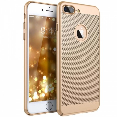 Mesh Dissipating Heat Anti Fingerprint PC Case For iPhone 7 Plus/8 Plus - Golden