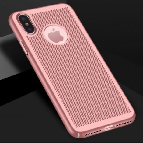 Mesh Heat Dissipation Anti Fingerprint Hard PC Case For iPhone X - Rose Golden