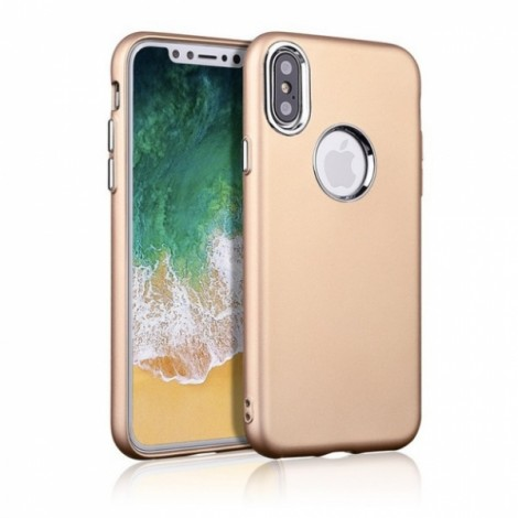 Metallic paint buttons TPU Soft  Phone Case for iPhone X- Golden