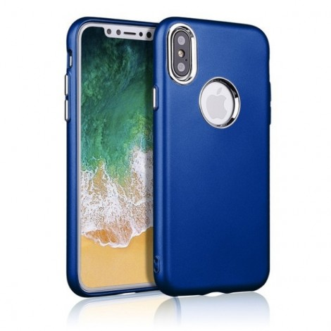 Metallic paint buttons TPU Soft  Phone Case for iPhone X- Blue