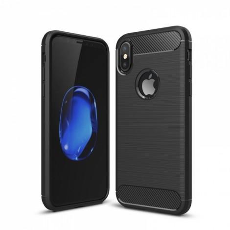 Carbon Fiber Anti Fingerprint Soft TPU Case for iPhone X - Black