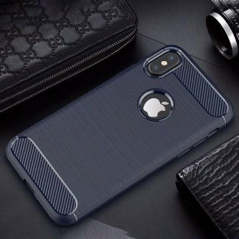 Carbon Fiber Anti Fingerprint Soft TPU Case for iPhone X - Blue