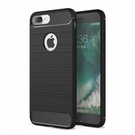 Carbon Fiber Anti Fingerprint Soft TPU Case for iPhone 8/7 Plus- Black