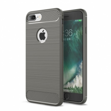 Carbon Fiber Anti Fingerprint Soft TPU Case for iPhone 8/7 Plus- Gray