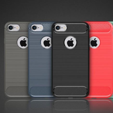 Carbon Fiber Anti Fingerprint Soft TPU Case for iPhone 8/7 - Blue