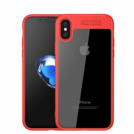 Viseaon Ultra Thin Silicone TPU+Acrylic Cover Case For iPhone X-Red