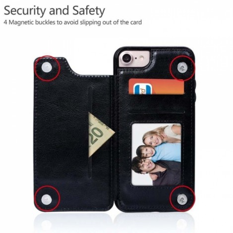 Magnetic Wallet Case with Card Slots for iPhone 7/8 - Black