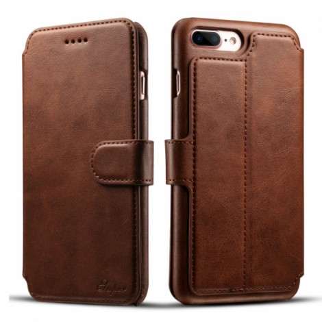Leather Cover Wallet Back Case with Card Cases for iPhone 8 Plus/ 7 Plus- Brown