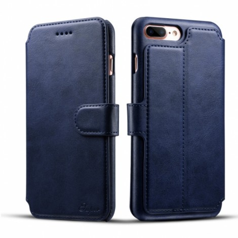 Leather Cover Wallet Back Case with Card Cases for iPhone 8 Plus/ 7 Plus- Blue