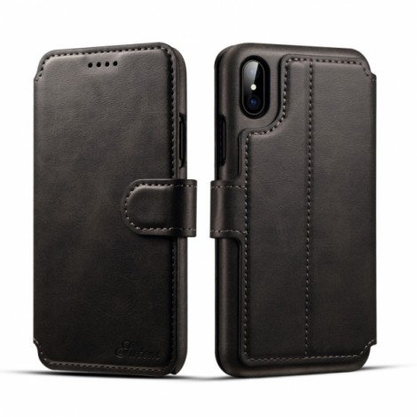 Leather Cover Wallet Back Case with Card Cases for iPhone X- Black