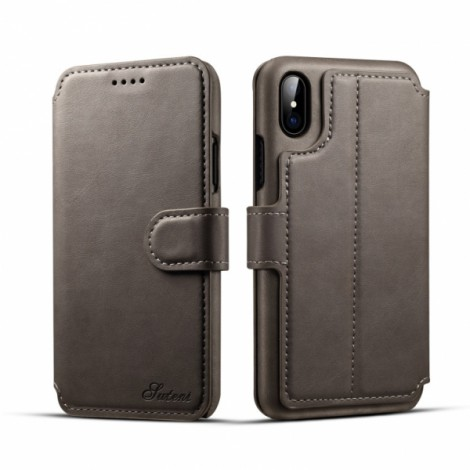 Leather Cover Wallet Back Case with Card Cases for iPhone X- Gray