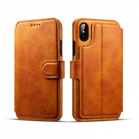 Leather Cover Wallet Back Case with Card Cases for iPhone X- Khaki