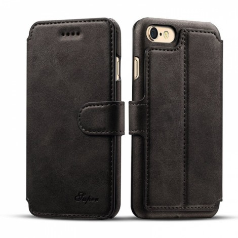 Leather Cover Wallet Back Case with Card Cases for iPhone 8/ 7- Black