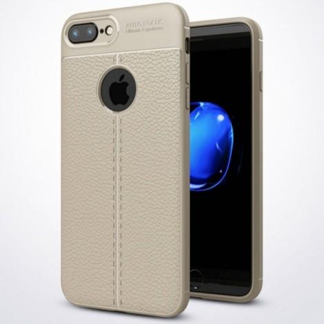 Anti Fingerprint Soft TPU Litchi Leather Case for iPhone iphone7 Plus/8 Plus - Gray