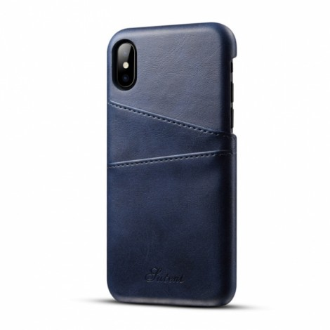 Leather Phone Back Case With Card Cases  for iPhone X- Blue