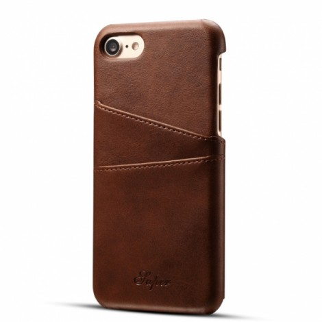 Leather Phone Back Case With Card Cases for iPhone 8/ 7- Brown