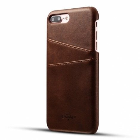 Leather Phone Back Case With Card Cases  for iPhone 8 Plus/ 7 Plus- Brown