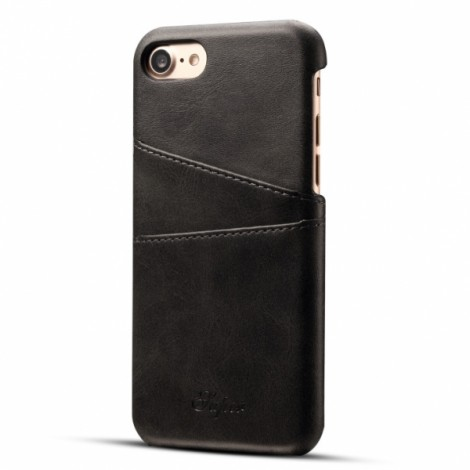 Leather Phone Back Case With Card Cases for iPhone 8/ 7- Black