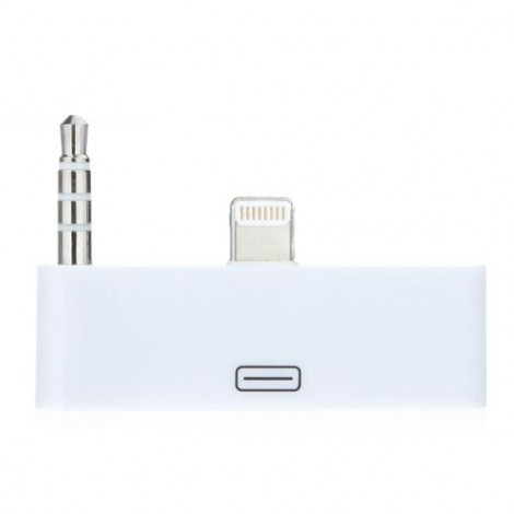 8-Pin to 30-Pin Dock Lightning Audio Adapter Converter for iPhone 6/6S White