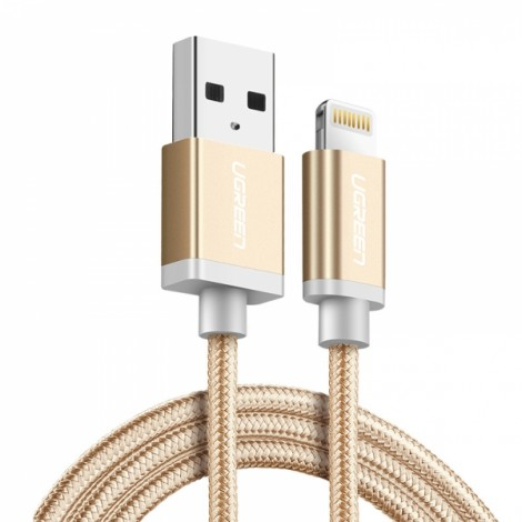 0.25M Ugreen MFI Certified Lightning to USB 2.4A Data Charge Cable for iPhone 8/Plus/X iPad - Gold