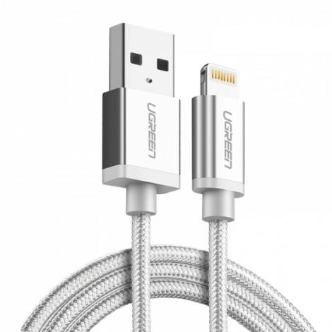1M Ugreen MFI Certified Lightning to USB 2.4A Data Charge Cable for iPhone 8/Plus/X iPad - Silver