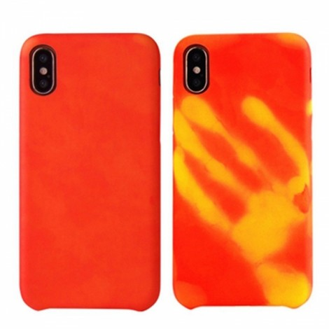 Heat Sensitive Case for iPhone X Soft TPU Case Cover HOT Discoloration Changed Color - Red
