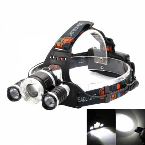 3-T6 LED 4-Mode White Light Aluminum Reflector Zooming Headlamp Kit Black