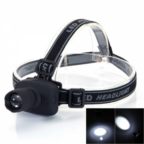 Portable 120LM 90-Degree Swivels Angle 3 Modes Waterproof LED Head Lamp Black