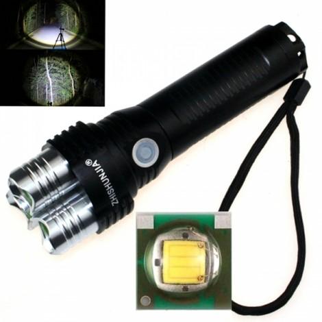 """ZSJ P5 XP-E Q5 """"1000LM"""" 3-LED 5-Mode White Light Flashlight with Strap Black & Silver (1 x 26650)"""