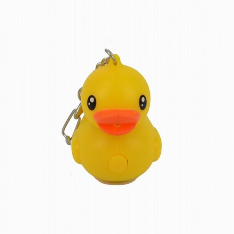 Cute Duck Style 2-LED White Light Keychain with Sound Effect Yellow