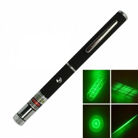 5 in 1 5mW 532nm Mid-open Kaleidoscopic Green Laser Pointer Pen (2*AAA)