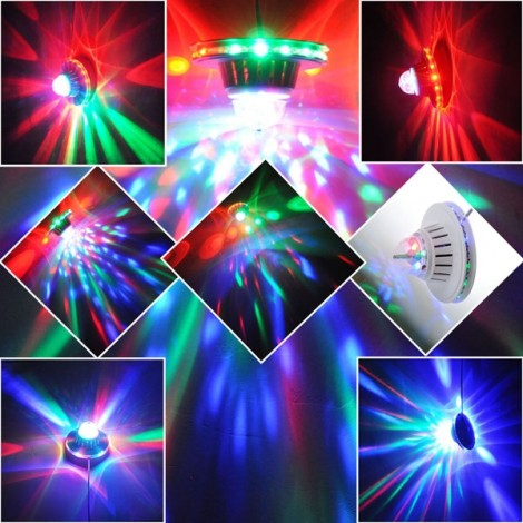 8W LED Sunflower Crystal Magical Bulb Lamp RGB Rotating Mini Stage Light (US/EU Standard Plug)