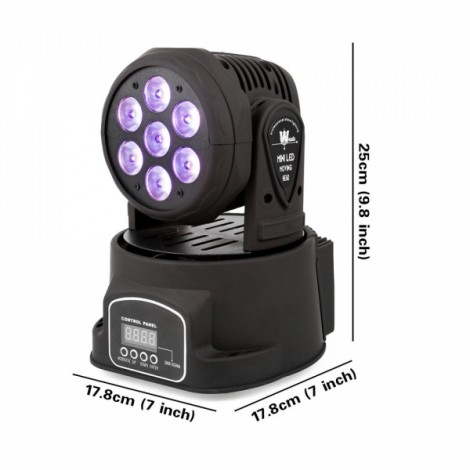 100W 7 LED RGBW Auto/Sound Control DMX512 Rotary Stage Lighting AU Plug Black