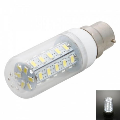 B22 7W 36LED 400-450LM SMD5730 6000-6500K White Corn Light with Transparent Cover (200-240V)