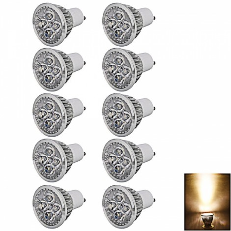 10X GU10 4W 4LED 320-360LM 2800-3200K Warm White Dimmable LED Spotlight Light (110V)