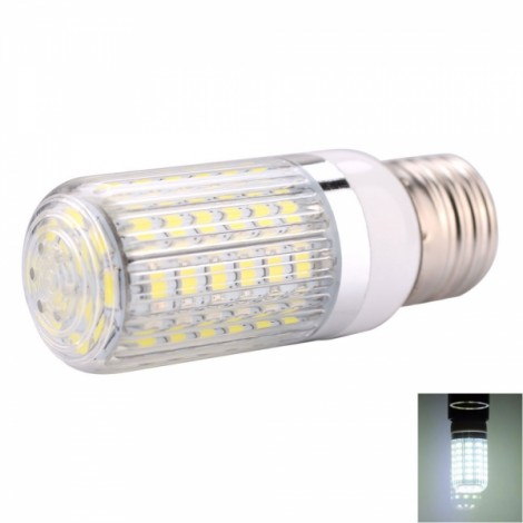 E27 12W 60 x 5730SMD LED 1200LM 6000-6500K White Light LED Corn Bulb with Striped Lampshade (85-265V)