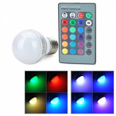 E27 3W RGB LED Ball Light with Remote Controller White & Silver (AC 86-265V)