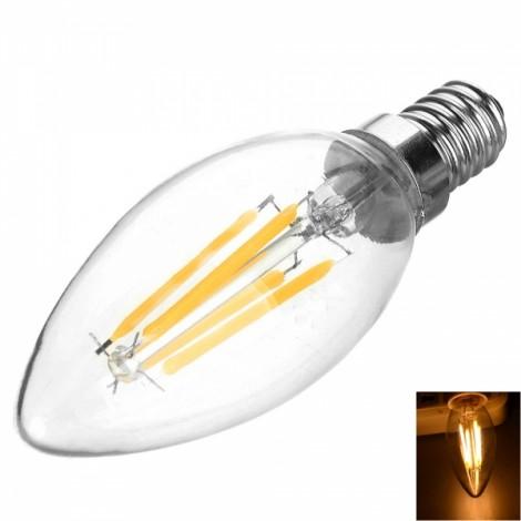 E14 4W 400LM 3200K Warm White Light 4 COB LED Filament Bulb (AC85-265V)