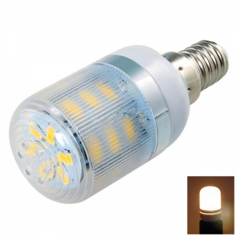 E14 7W 24-LED 5730SMD 3000K Warm White Light LED Corn Lamp with Striped Cover (AC 200-240V)