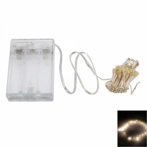 5M 50LED 4.5V 3W Silver Wire Battery Powered Ordinary String Lights without Fixed Shape Warm White