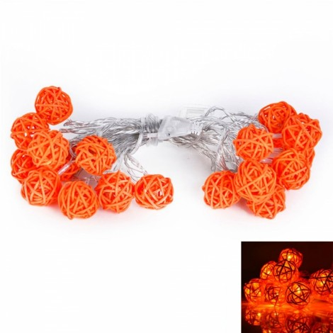 5M 20-LED Orange Sepa Takraw Style Festival Decoration String Light Yellow Light