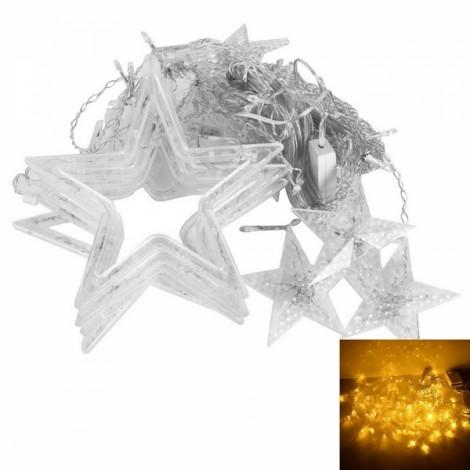 12-LED Festival Light Star Shape Curtain String Light Yellow
