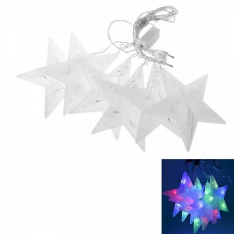 4M 6 Lamps Five-pointed Star Hanging Decoration LED Hyaline Waterproof String Light Colorful