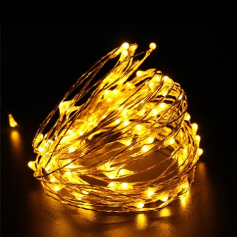 10M 100 LED Solar Powered Copper Wire Ambiance String Fairy Light Yellow
