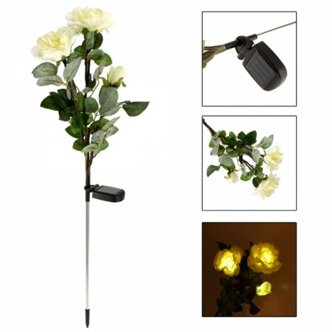 Waterproof Solar Power 3-Flower Rose Shaped LED Light Green & White