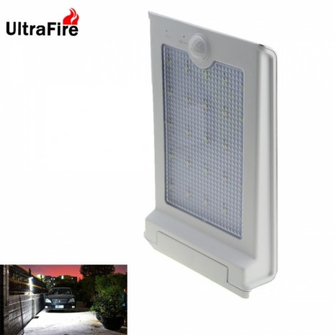 Ultrafire 25-LED 250lm Outdoor Courtyard Body Sensor Solar Wall Lamp Silver Grey