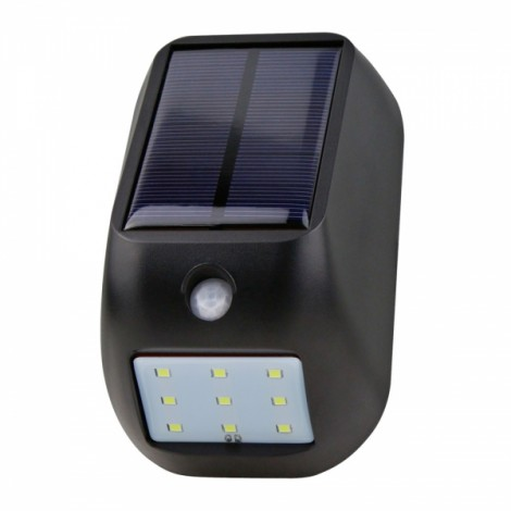 9-LED White Light Solar Wall Lamp with Human Body Sensor & Light Control Black