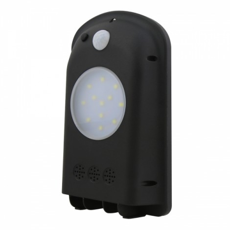 12-LED White Light Solar Wall Lamp with Human Body Sensor & Light Control & Slightly Bright Black