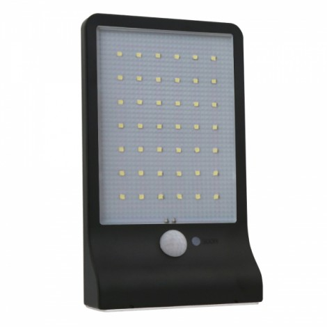 42-LED White Light Solar Wall Lamp with Human Body Sensor & Light Control & Slightly Bright Black